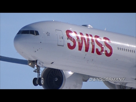 Swiss Boeing 777-300ER HB-JNG First Flight w/ Missed Approach & Touch n' Go Landings