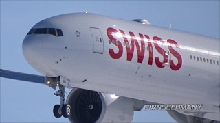Swiss Boeing 777-300ER HB-JNG First Flight w/ Missed Approach & Touch n