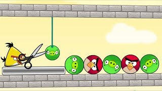Angry Birds Pigs Out - RESCUE THE BIRDS BY CUTTING ROPE TO KICK ROUND PIGS!