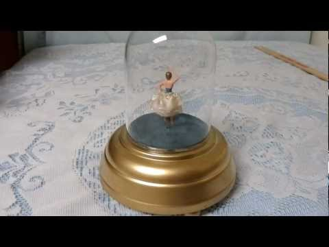 Restored Musical box dancing ballerina under glass dome - Restored! Music Box Maker