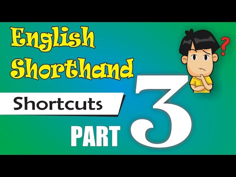 ENGLISH SHORTHAND SHORTCUTS / Special Strokes / Outlines PART 3