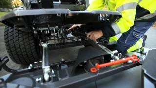 Learn how to attach the cutting deck Combi 155 on a Husqvarna P 525D Front Mower
