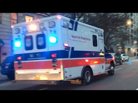 NEW YORK PRESBYTERIAN HOSPITAL EMS AMBULANCE RESPONDING ON 5TH AVENUE ON  THE EAST SIDE OF MANHATTAN