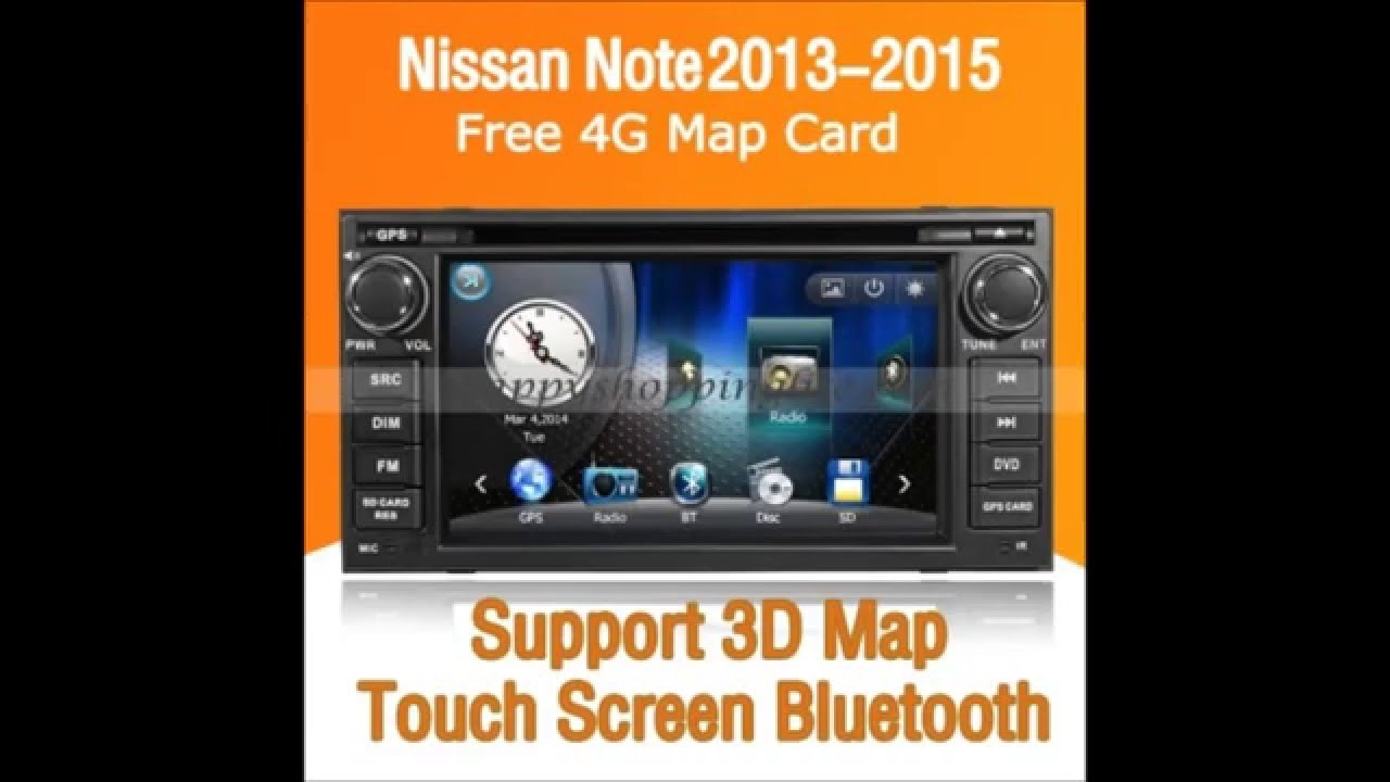 Nissan note 2013 2015 car stereo dvd bluetooth gps navigation audio tv youtube