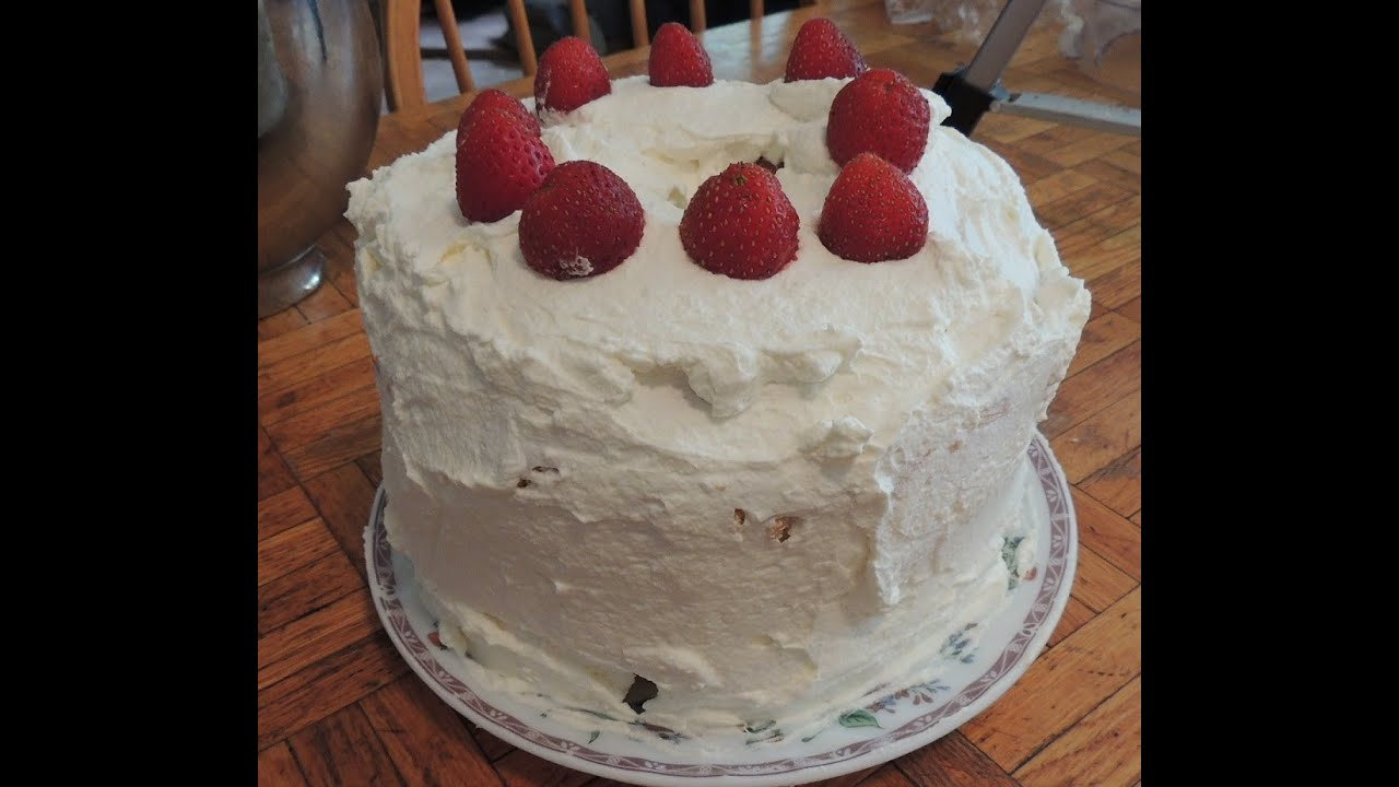 Triple Layer Strawberry Angel Food Cake Youtube