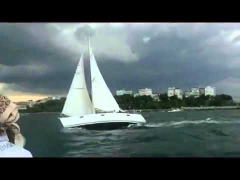 Sailing the Sea of Marmara in a storm, Istanbul Turkey