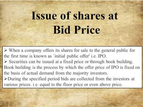 share issue at Bid price  Role of secretary in capital formation part 2