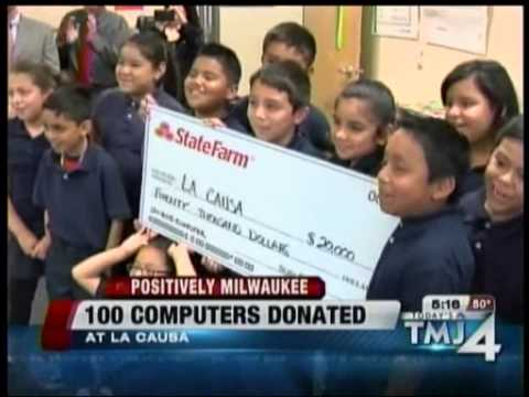 State Farm donates 100 computers to La Causa Charter School