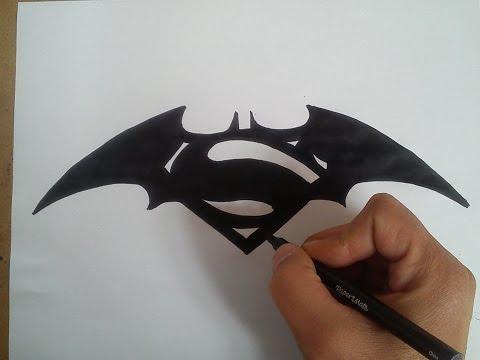 Como dibujar el logo de batman vs Superman / HOW TO DRAW THE LOGO OF BATMAN VS SUPERMAN