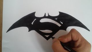 Como dibujar el logo de batman vs Superman / HOW TO DRAW THE LOGO OF BATMAN VS SUPERMAN