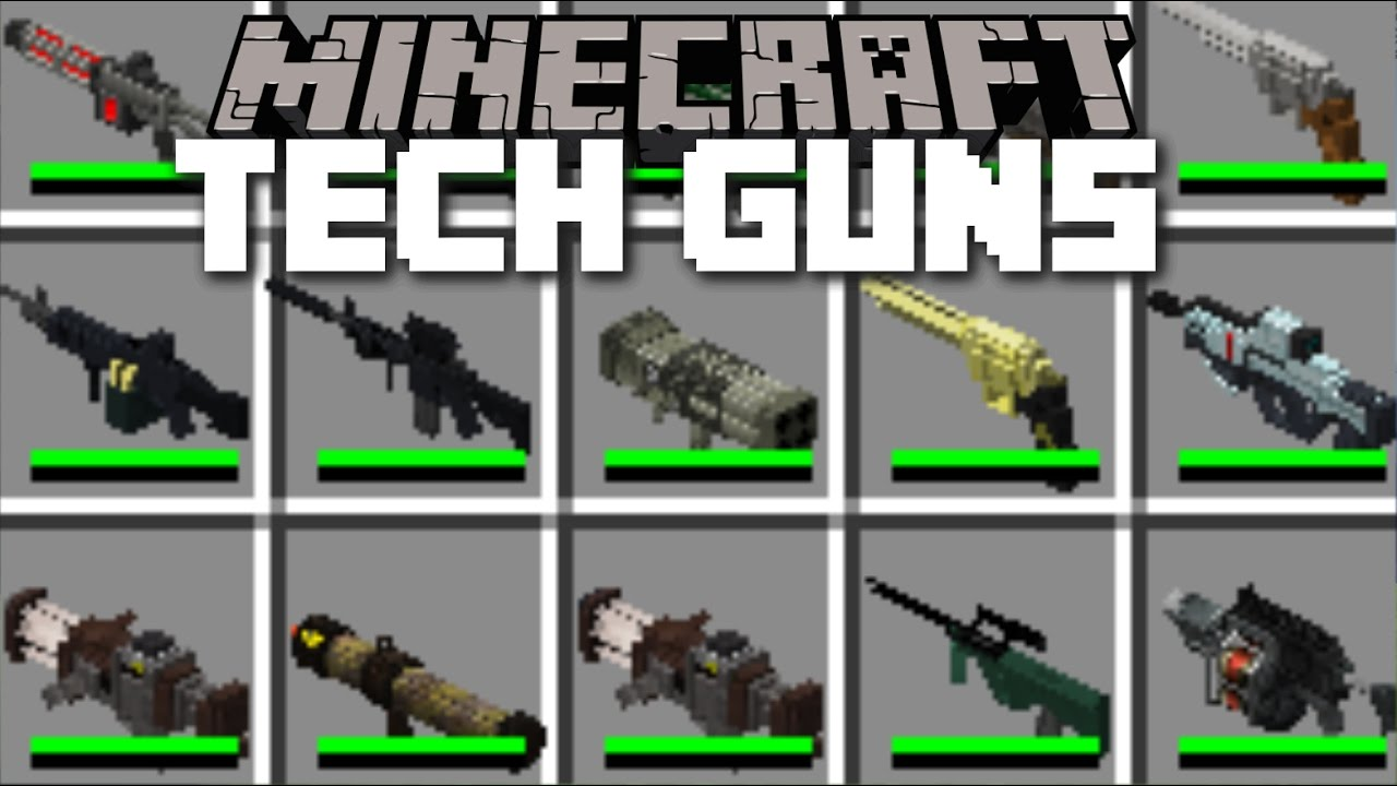 Minecraft TECH GUN MOD / PLAY WITH DEATH RAYS AND ZAP YOUR ENEMIES