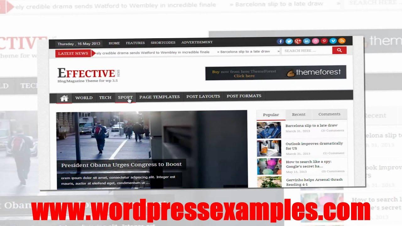 EffectiveNews - Wordpress Magazine Theme Effective News - YouTube