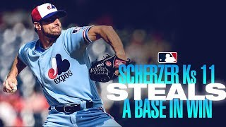 Scherzer strikes out 11, steals second base