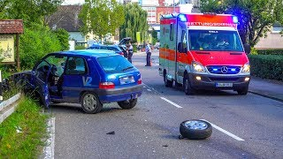 SEKUNDENSCHLAF - [PKW rast frontal in VW & AUDI] - RETTUNGSDIENST & NOTARZT IM EINSATZ