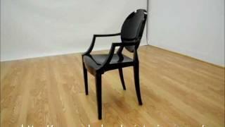 Wholesale Interiors Dymas Modern Acrylic Black Armed Ghost Chair