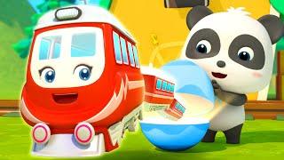 Super Trains in Surprise Eggs   Monster Cars for Kids   Nursery Rhymes   Kids Song   BabyBus