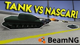 TANK MOD VS NASCAR & POLICE CHASES! - BeamNG Drive Gameplay & Crashes