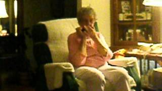 97 year old grandma playing the harp