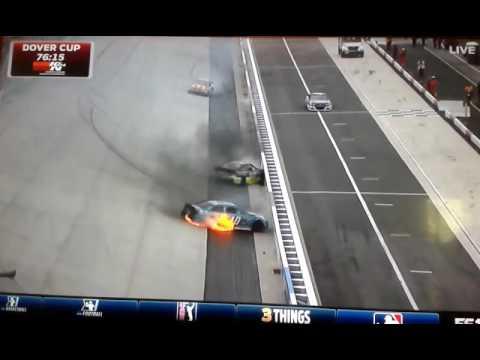 2016 NASCAR Sprint Cup Dover Practice Danica Patrick HARD CRASH FIRE