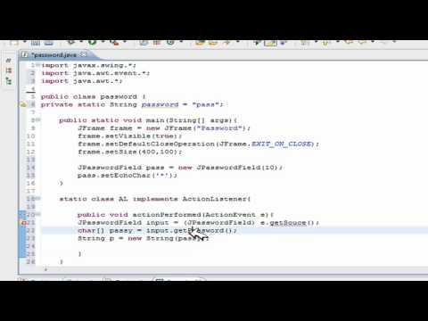Java Swing/GUI Tutorial: Create a Password Field- Password Protecting Program