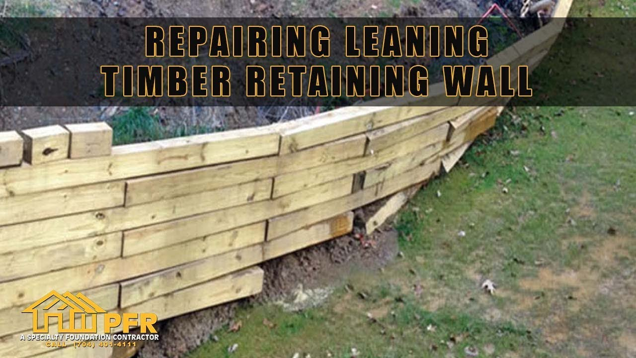 REPAIRING LEANING TIMBER RETAINING WALL CHARLOTTE NC - YouTube
