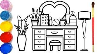 Gambar cover Vẽ bàn trang điểm và tô màu cho bé | Dạy bé vẽ | Dạy bé tô màu | Glitter Makeup Table