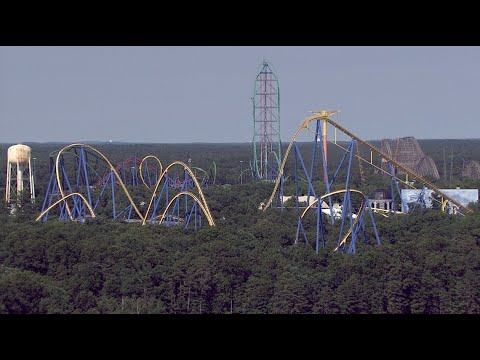Watch drone fly over Six Flags Great Adventure's roller coaster