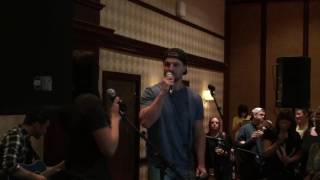 Stephen Amell & Cassandra singing Home at Nocking Point wine mixer Birmingham