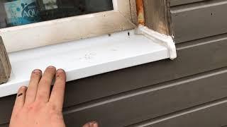 Крепим отливы на пластиковые окна на монтажную пену. Строим каркасный дом