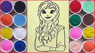 Đồ chơi trẻ em, TÔ MÀU TRANH CÁT CÔNG CHÚA ANNA FROZEN XINH ĐẸP - Sand painting ANNA (Chim Xinh)