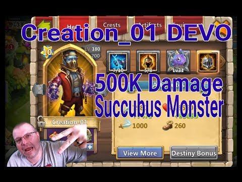 Double Evolving Creation01 That Succubus 500K Damage Castle Clash