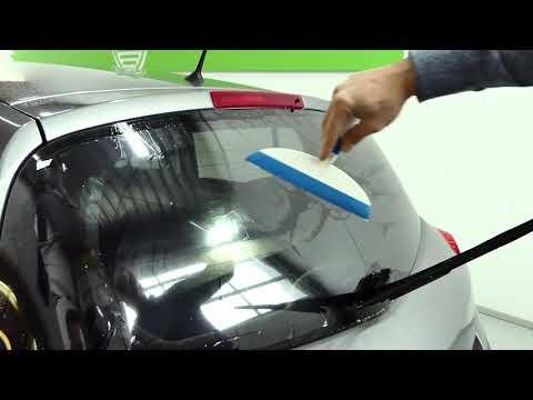 (NO DOT pattern) The best way to tint rear car window using professional window film.