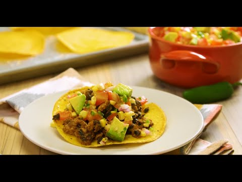 Turkey and Black Bean Tostadas with Avocado-Tomato Salsa