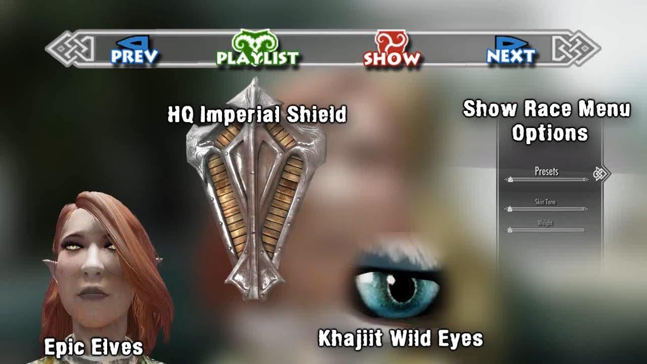 Skyrim Mod Spotlight: Epic Elves, Show Race Menu Options, HQ Imperial  Shield, Khajiit Wild Eyes