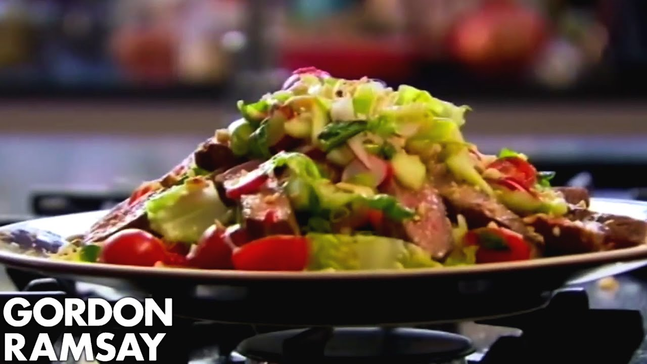 To cook steak and spicy beef salad recipe gordon ramsay youtube