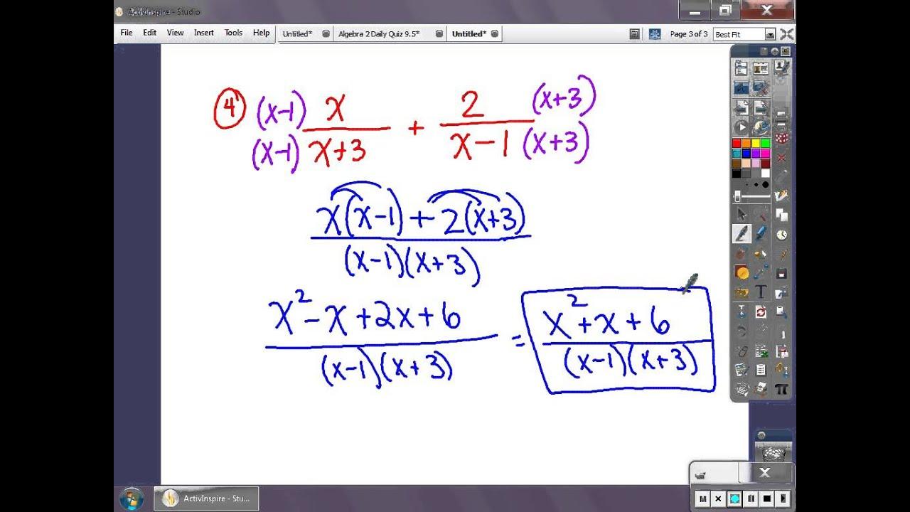 Algebra 2 Practice Quiz 9 4 9 5