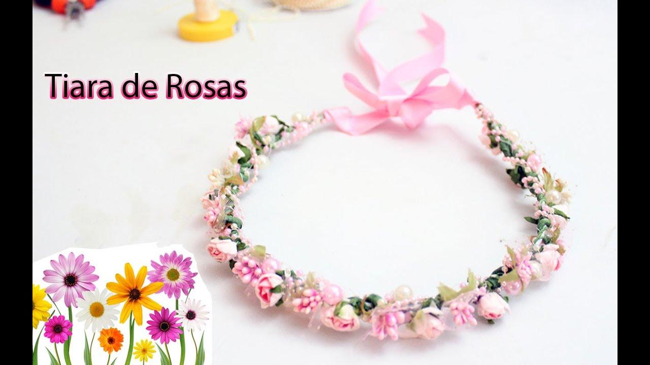 Como hacer una Tiara o Corona Floral para niñas. Diadema de Rosas , YouTube