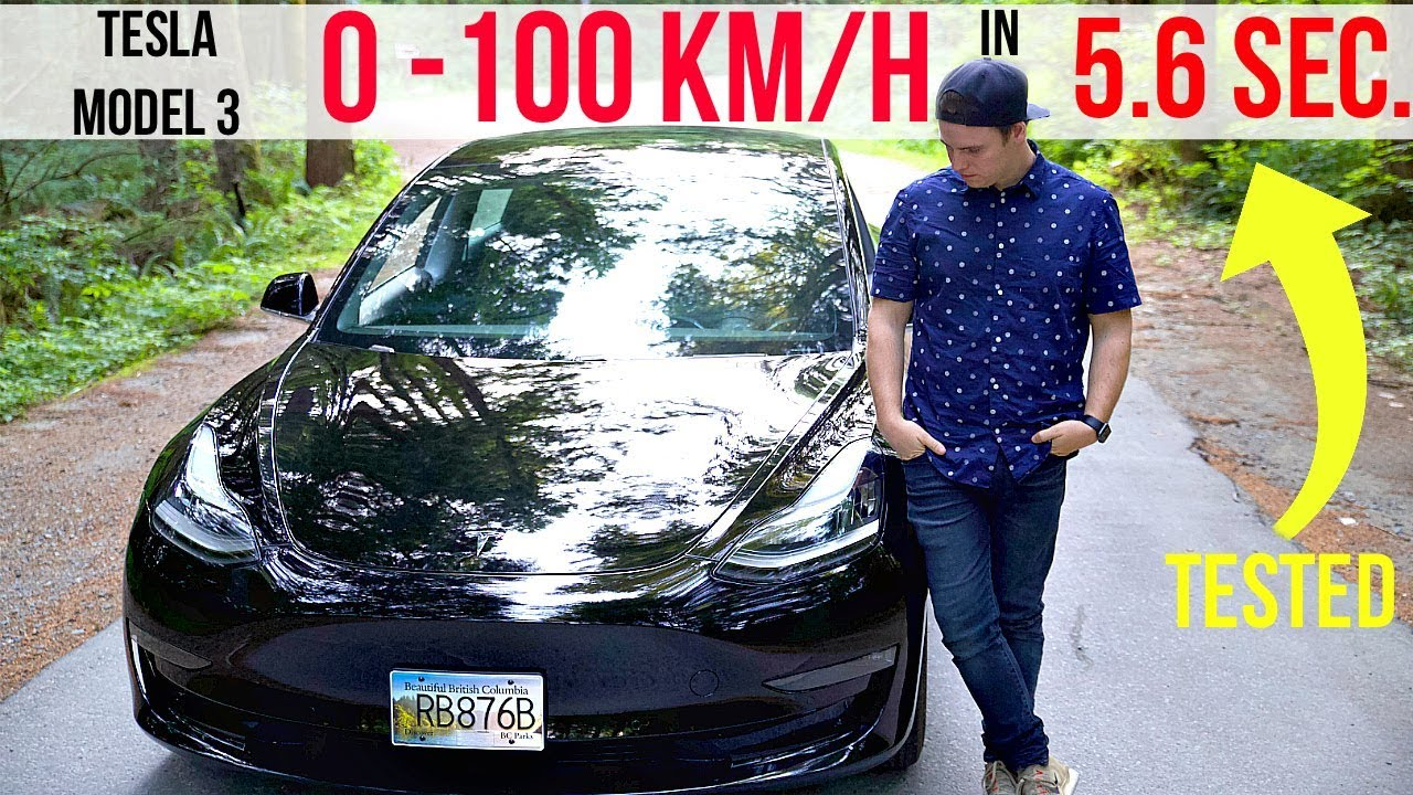 TESLA MODEL 3 SPEED TEST (0-100km/h in 5.6 Seconds) - YouTube