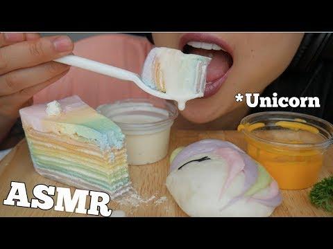 ASMR Unicorn CREPE CAKE + BUN (SOFT STICK EATING SOUNDS) NO TALKING   SAS-ASMR