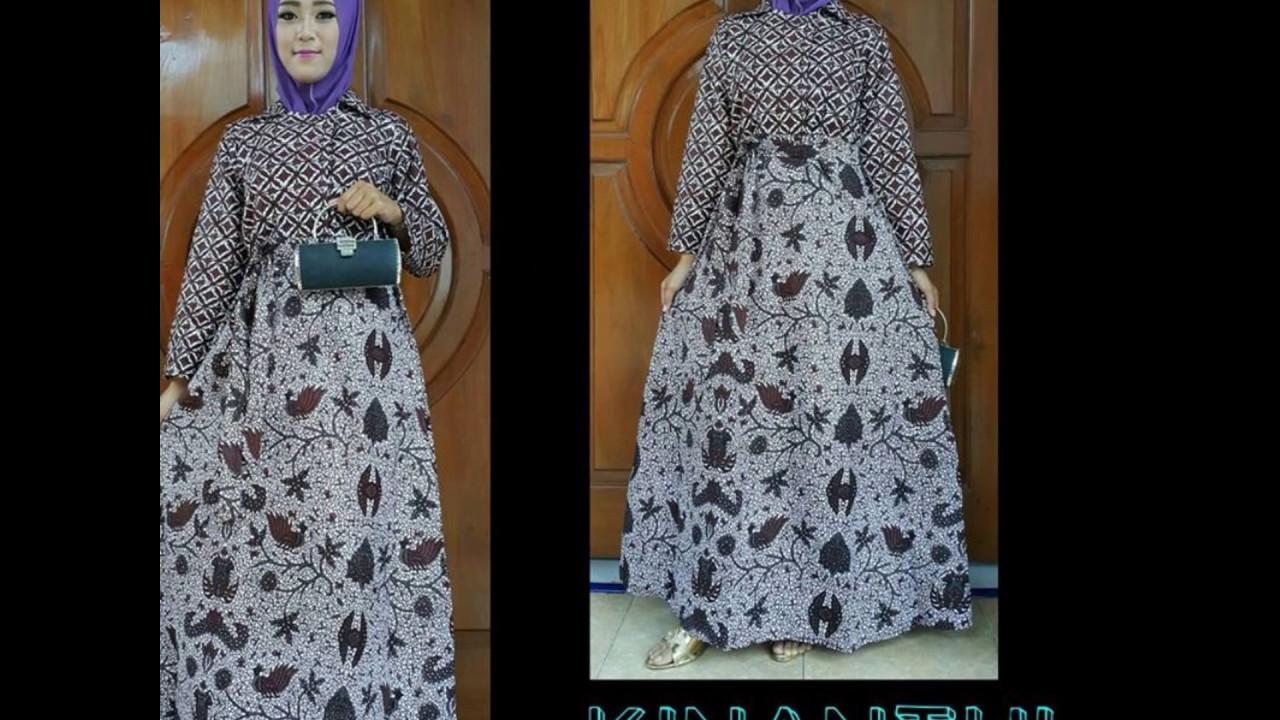 WA 12 12 12, gamis batik kombinasi polos modern, gamis batik