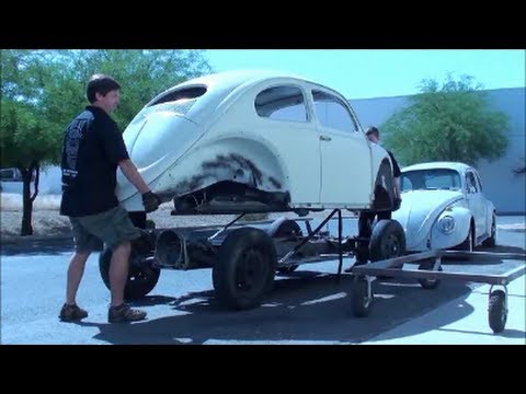 vw beetle removing body from pan