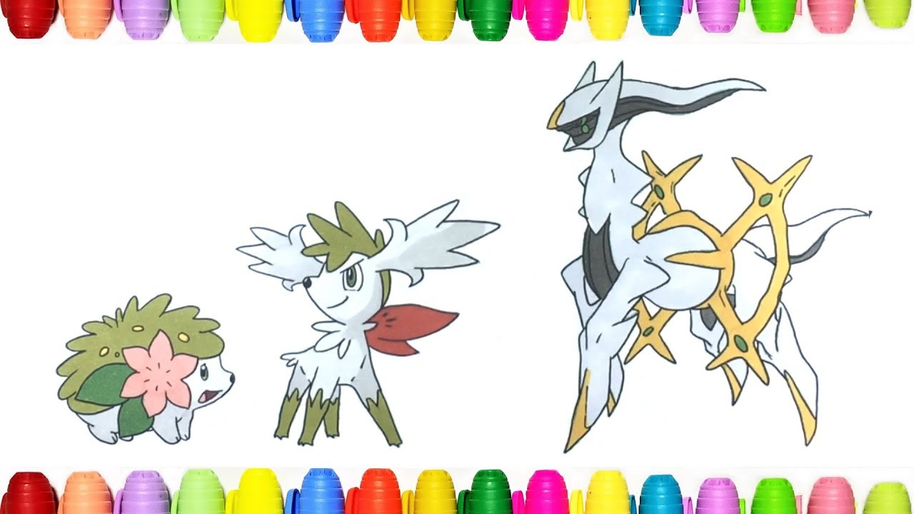 Pokemon Coloring Pages For Kids Shaymin And Arceus Youtube