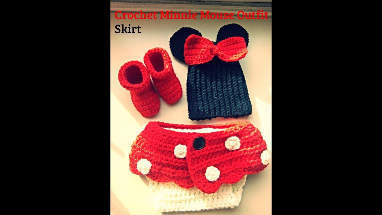 crochet minnie mouse skirt for diaper - YouTube