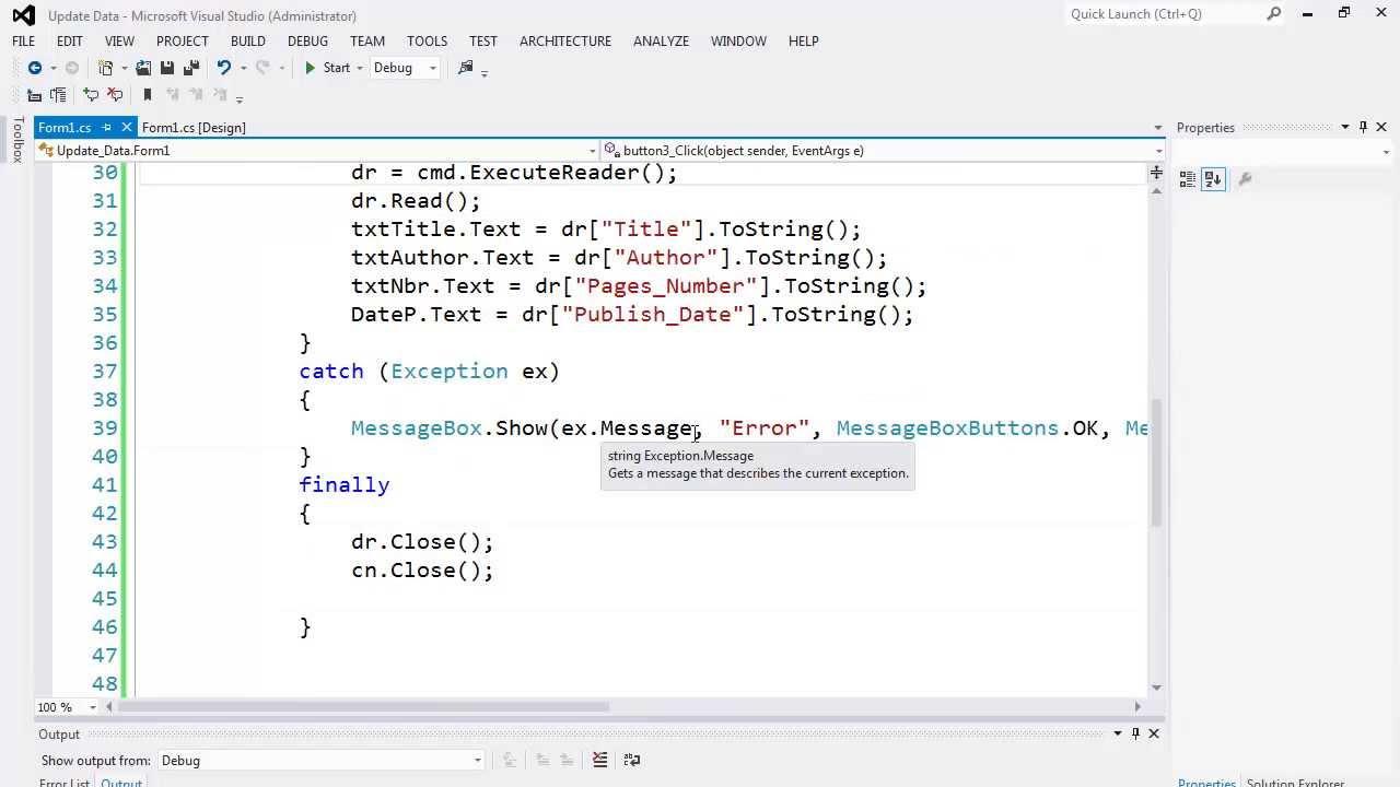 85. برمجة قواعد البيانات - تحديث البيانات عبر SqlCommand - الجزء الأول