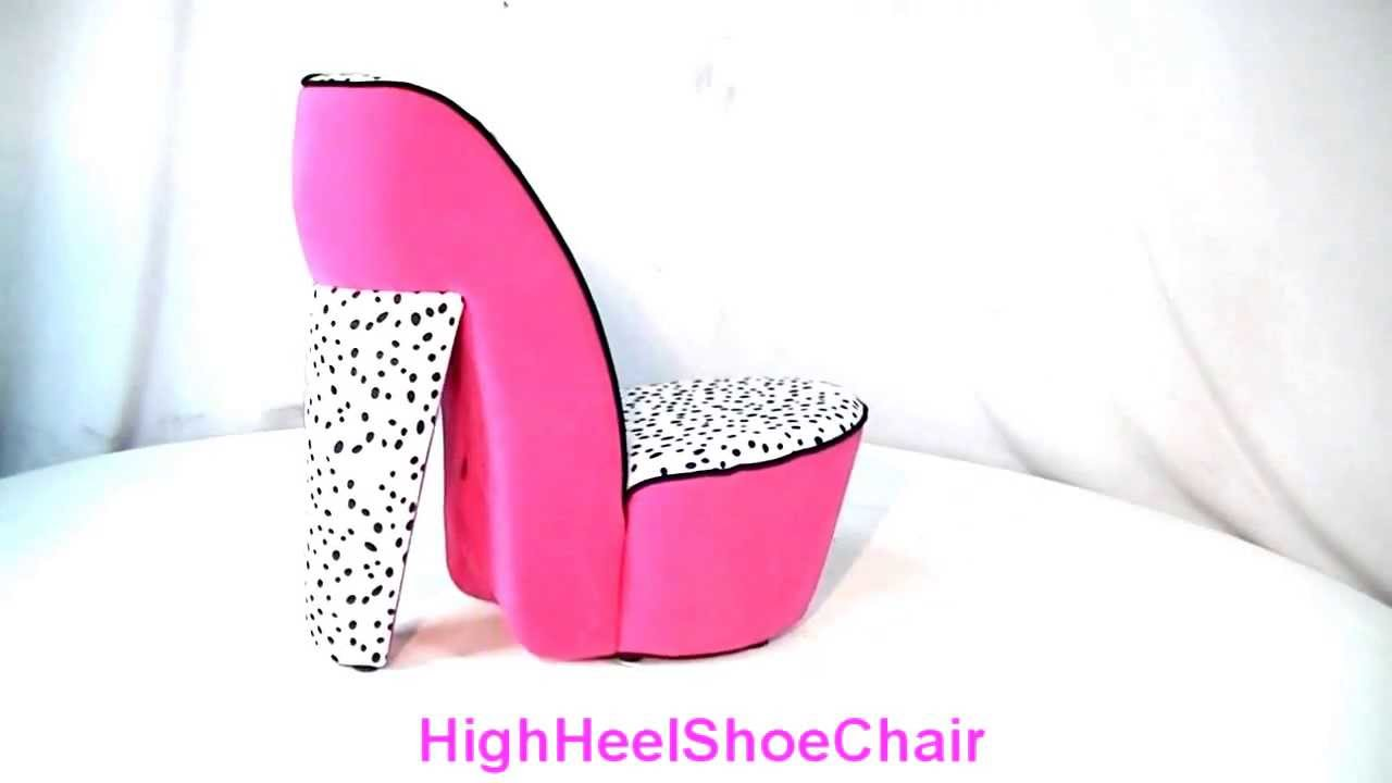 Child Size Pink Dalmatian High Heel Shoe Chair   YouTube