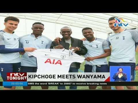 London Marathon champion Eliud Kipchoge meets Victor Wanyama and Tottenham Hotspur team
