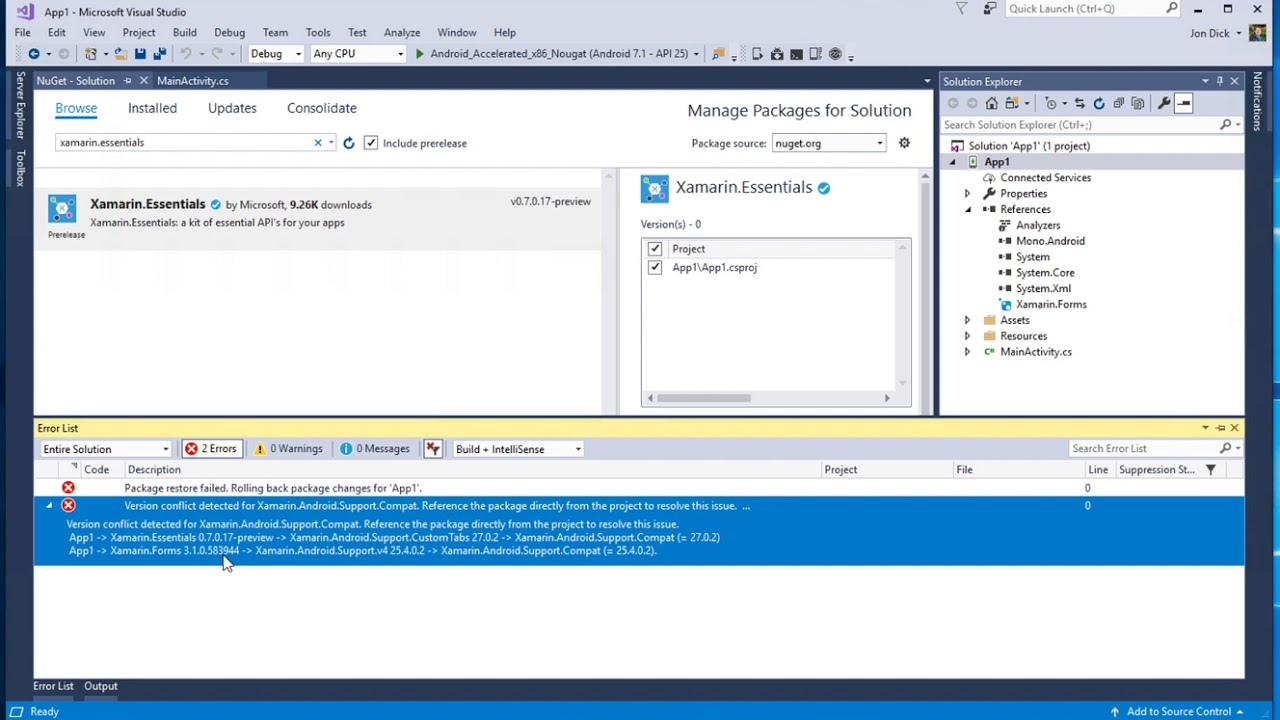 How to Fix the dreaded 'Version conflict' NuGet error in your