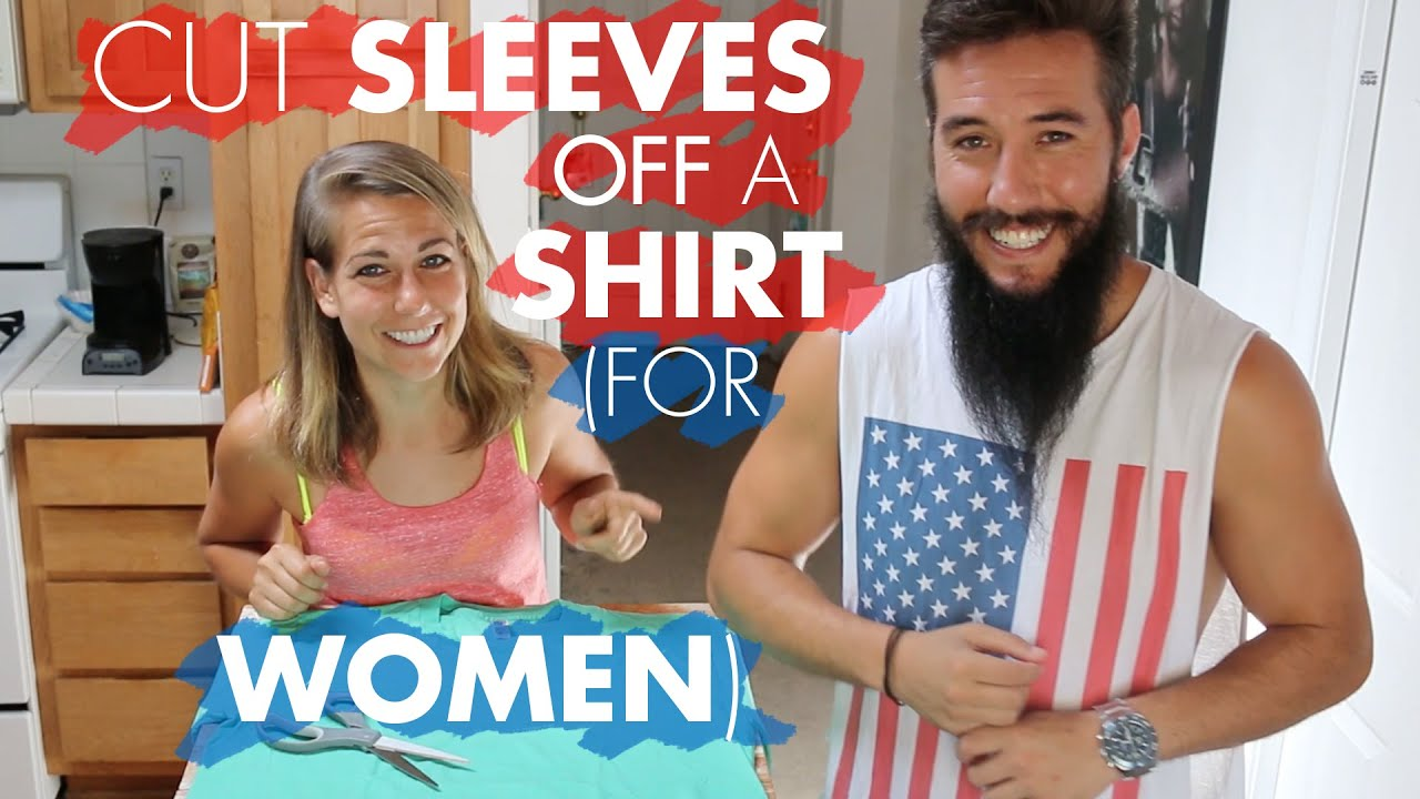 How to cut sleeves off a shirt for women youtube for How to cut sleeves off a shirt