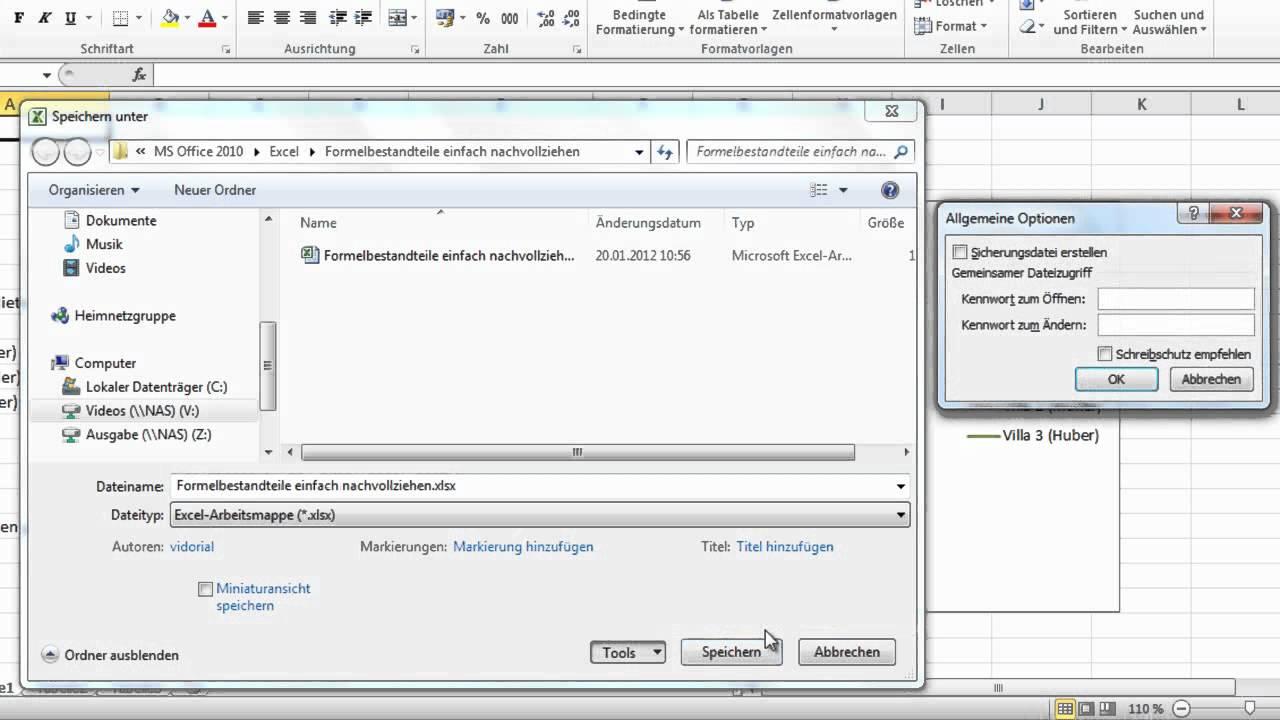 Excel 2010 - Dokument mit Kennwort schützen - YouTube