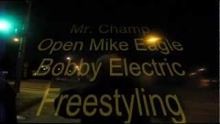 Mr Champ, Open Mike Eagle, and Bobby Electric Freestyling Outside Project Blowed.wmv